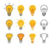 Different light bulb isolated on white vector illustration Royalty Free Stock Image
