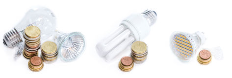 Different Light Bulbs (isolated on white) Stock Image