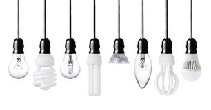 Different light bulbs. Set of different light bulbs isolated on white Stock Photos