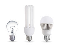 Different light bulbs stock image