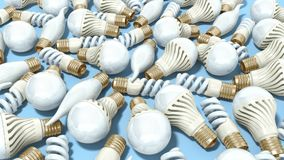 Different Lighting Bulbs set 3d render on blue background. Different Lighting Bulbs set 3d render on blue Stock Photo