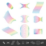 Different line design elements with spectrum color. Royalty Free Stock Images