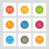 Different line style icons on circles. Application pictograms Stock Image