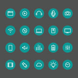 Different line style icons on color circles set Stock Photos