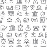 Different line style icons seamless pattern, bank Stock Images