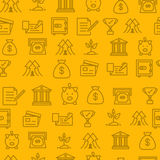 Different line style icons seamless pattern, bank Stock Photography
