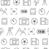 Different line style icons seamless pattern, Camera. Different line style icons seamless pattern, icons set, Camera Stock Photography