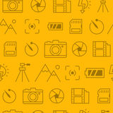 Different line style icons seamless pattern, Camera-y. Different line style icons seamless pattern, icons set, Camera Royalty Free Stock Image