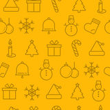 Different line style icons seamless pattern, Christma Stock Images