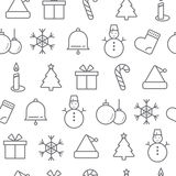 Different line style icons seamless pattern, Christmas Royalty Free Stock Image