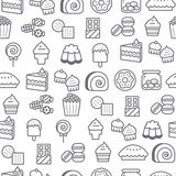 Different line style icons seamless pattern, Dessert Stock Photo