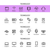 Different line style icons set. Technology. Different line style icons vector set. Technology Royalty Free Stock Image