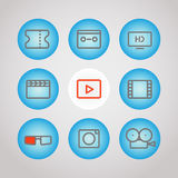 Different lineart media icons set. Vector design. Elements Stock Image
