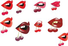 Different lips. Nine different lips with cherry Royalty Free Illustration