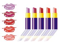 Different lipstick colors Royalty Free Stock Photography