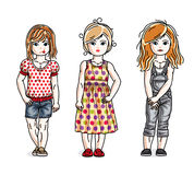 Different little girls cute children standing in stylish casual. Clothes. Vector diversity kids illustrations set Stock Images