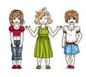 Different little girls cute children standing wearing fashionabl. E casual clothes. Vector diversity kids illustrations set. Childhood and family lifestyle clip Stock Image