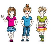 Different little girls cute children standing wearing fashionabl. E casual clothes. Vector diversity kids illustrations set. Childhood and family lifestyle clip Royalty Free Stock Photos