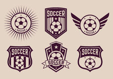 Different logos and icons football teams Royalty Free Stock Photos