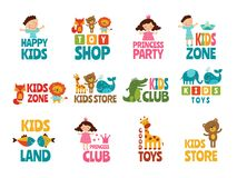 Different logos for kids with funny colored illustrations. Child area, playroom or store vector Stock Photos