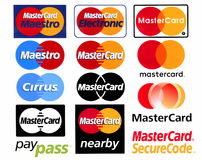 Different logotypes of payment system Mastercard. Moscow, Russia - 28 December, 2016: Different logotypes of payment system Mastercard, printed on white paper Royalty Free Stock Photos