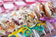 Different lollipop candies closeup, confectionery sale Stock Photo