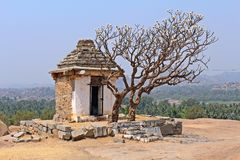 Different. This lone tree and a lone temple on top of hemakuta hills in hampi was something different Stock Image