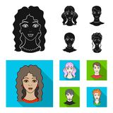 Different looks of young people.Avatar and face set collection icons in black, flat style vector symbol stock. Illustration Royalty Free Stock Images