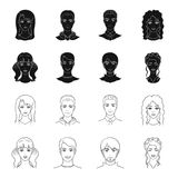 Different looks of young people.Avatar and face set collection icons in black,outline style vector symbol stock. Illustration Royalty Free Stock Image