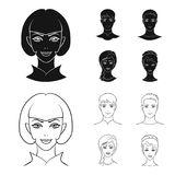 Different looks of young people.Avatar and face set collection icons in black,outline style vector symbol stock. Illustration Royalty Free Stock Images