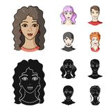 Different looks of young people.Avatar and face set collection icons in cartoon,black style vector symbol stock. Illustration Royalty Free Stock Photo