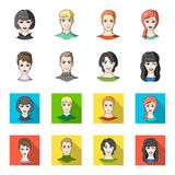 Different looks of young people.Avatar and face set collection icons in cartoon,flat style vector symbol stock. Illustration Stock Photos