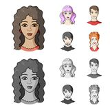 Different looks of young people.Avatar and face set collection icons in cartoon,monochrome style vector symbol stock. Illustration Royalty Free Stock Photo