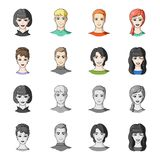 Different looks of young people.Avatar and face set collection icons in cartoon,monochrome style vector symbol stock. Illustration Royalty Free Stock Photos