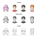 Different looks of young people.Avatar and face set collection icons in cartoon,outline,monochrome style vector symbol. Stock illustration Royalty Free Stock Photography