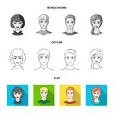 Different looks of young people.Avatar and face set collection icons in flat,outline,monochrome style vector symbol. Stock illustration Stock Image