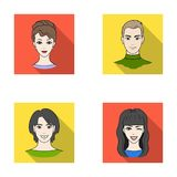 Different looks of young people.Avatar and face set collection icons in flat style vector symbol stock illustration web. Royalty Free Stock Images