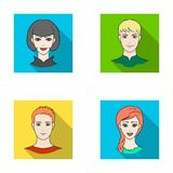 Different looks of young people.Avatar and face set collection icons in flat style vector symbol stock illustration web. Stock Images