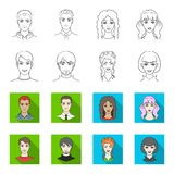 Different looks of young people.Avatar and face set collection icons in outline,flat style vector symbol stock. Illustration Stock Photos