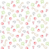 Lucky charms illustration seamless pattern. Different lucky charms illustration seamless pattern Stock Images