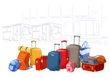 Different luggage on the background of the airport Stock Photography