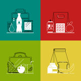 Different lunchboxes on colorful background. Stock Image