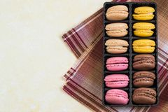Different macaroon in box royalty free stock photography