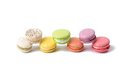 Different macaroon in the colored line Stock Photography