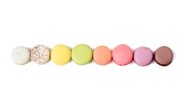 Different macaroon in the line Royalty Free Stock Photos