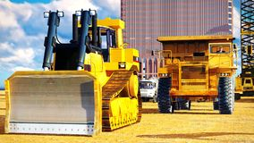 Different machinery at construction site Stock Images