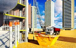 Different machinery at construction site Stock Image