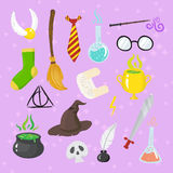 Different magic elements for witches in cartoon style Stock Photo