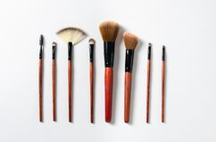 Different makeup brushes isolated over white background stock photos