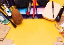 Different makeup cosmetics background semicircular frame Stock Photos